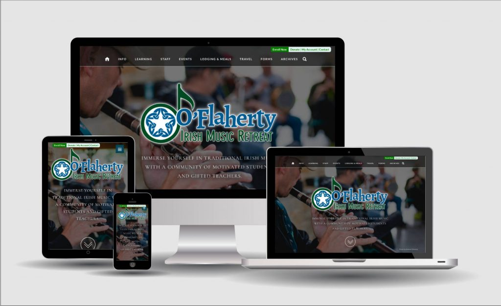 visual examples of O'Flaherty Retreat website on multiple screen sizes
